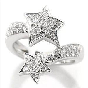 Auth CHANEL Comete Diamond & 18KT Gold Star Ring
